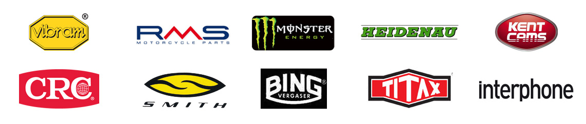 Vibram - RMS - Monster Energy - Heidenau - Kent Cams - CRC - Smith - Bing - Titax - Interphone